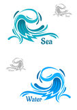 Powerful blue ocean wave icons Stock Photography