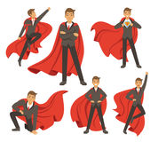 Powerful businessman in different action superhero poses. Vector illustrations in cartoon style. Power male in costume superhero, businessman standing vector illustration