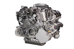 Powerful car engine isolated. On white stock images
