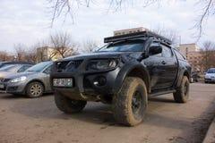 Powerful car in the parking lot. Borisov, Belarus - March 05, 2017: powerful car in the parking lot Stock Photo