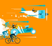 Powerful car and plane overtaking bicycles. Royalty Free Stock Photo
