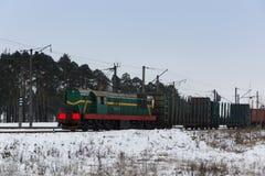 Powerful cargo train Royalty Free Stock Image