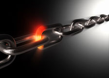 Powerful chain with hot fiery link Royalty Free Stock Photo
