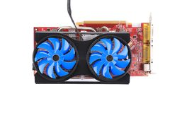 Powerful computer cooler with blue fun. Stock Photography