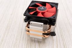 Powerful computer cooler with red fun turning twirl.  royalty free stock photography