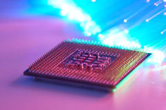 Powerful Computer Processor. On Background With Fiber Optics Royalty Free Stock Photo
