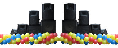 Powerful concerto audio speakers and balloons Stock Photography