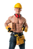 Powerful construction worker Royalty Free Stock Images