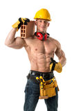 Powerful construction worker Royalty Free Stock Photos
