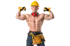 Powerful construction worker Stock Image