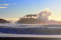 Powerful Crashing Waves at South Beach, Pacific Rim National Park, Vancouver Island royalty free stock photo