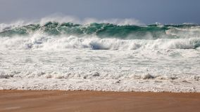 Powerful Waves Breaking near Shoreline Royalty Free Stock Photo