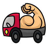 Powerful delivery icon. Sturdy machine with strong muscles - cartoon vector illustration for sighn or logo template Stock Images