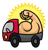 Powerful delivery icon. Sturdy machine with strong muscles - cartoon vector illustration for sighn or logo template Royalty Free Stock Photo