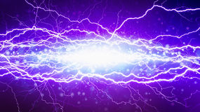 Powerful electric high voltage short circuit, bright lightnings Royalty Free Stock Photos