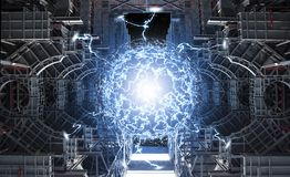 Powerful energy reaction in reactor core. Conceptual high tech power plant thermonuclear or nuclear reactor, including elements of fusion space stations Royalty Free Stock Photo
