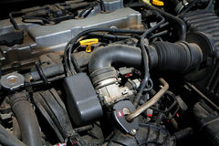 Powerful engine. The powerful engine of the modern car royalty free stock photography