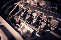 The powerful engine of a car. Internal design of engine with com Stock Photos