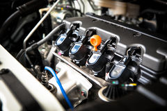 The powerful engine of a car. Internal design of engine with com. Bustion and valve in dark tone Stock Image