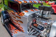 Powerful engine of the hot rod car. At Victorian Hot Rod & Cool Rides Show in Melbourne, Australia Stock Image
