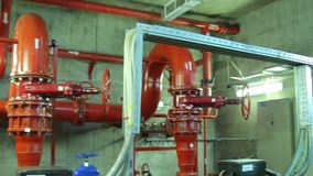 Powerful engines fire pump station stock footage