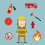 Powerful fireman with fire fighting tools. Firefighter profession icons with fireman in red protective helmet and suit, flanked by fire axe, conical bucket and Stock Photo