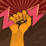 Powerful fist with flash. Vector illustration Stock Image