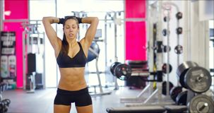 Powerful fit woman workout triceps lifting weights in gym stock video footage