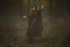 Powerful forest witch levitation Royalty Free Stock Image