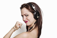 Powerful girl listening to music Royalty Free Stock Images