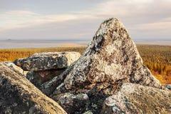 Powerful grantite rocks on top of a Lapland mountain Stock Photos