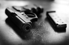Powerful Handgun And Bullets Royalty Free Stock Photography