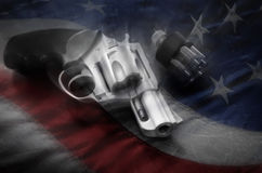 Powerful Handgun and Bullets Stock Image