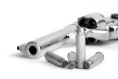 Powerful Handgun and Bullets Stock Photo