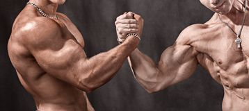 Powerful handshake. Hello athletes. Two bodybuilder shake hands Royalty Free Stock Photos