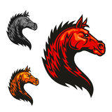 Powerful horse profile with tribal flaming mane. Powerful tribal stallion cartoon symbol for motorsport theme or equestrian club badge design with red horse stock illustration
