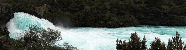 Powerful Huka Falls panorama near Lake Taupo, Ner Zealand stock photos