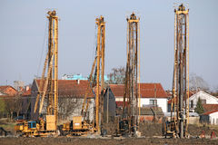 Powerful hydraulic drilling machines on construction site Royalty Free Stock Photography