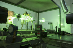 Powerful industrial green LASER for research. Powerful industrial green laser equipment in a laboratory for physics research. Solid State Physics lab. Light Royalty Free Stock Photos