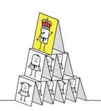 Powerful king & cards pyramid. Hand drawn cartoon characters - powerful king & cards pyramid vector illustration