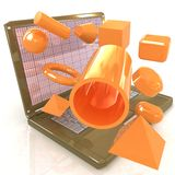 Powerful laptop specially for 3d graphics and software Stock Photos