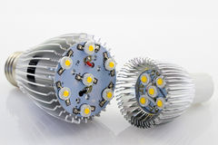 Powerful LED bulb E27 and GU10 without the covers Stock Photos