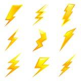 Powerful lightning bolts. Vector set of powerful lightning bolts vector illustration