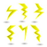 Powerful lightning bolts. vector set Royalty Free Stock Photography