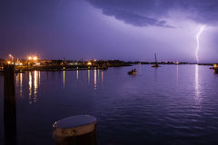Powerful Lightning Strike Over Harbor Stock Photos