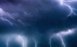 Powerful lightnings and rain in dark stormy sky, weather forecast concept, climate change background royalty free stock photos