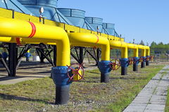 Powerful locks on the gas pipeline Stock Photography