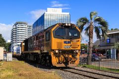 A DL-class diesel-electric locomotive rolling through Tauranga, New Zealand stock photos