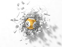 Powerful lottery ball hit Stock Images
