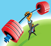 Powerful man. Powerful businessman lifting barbell by one hand. Vector illustration vector illustration